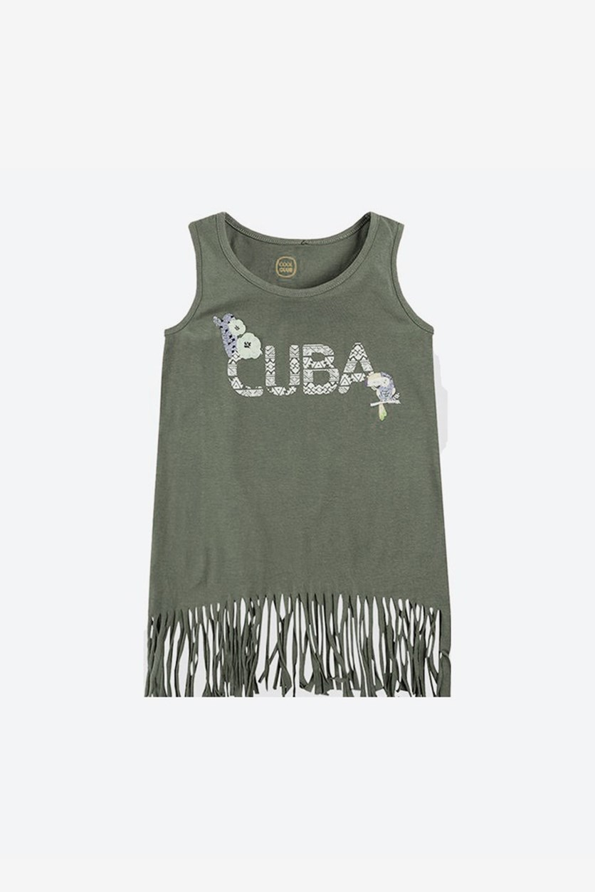 Girl's Fringe Details Top, Grey