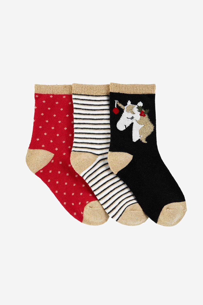 Girls 3-Pack Crew Socks, Black Combo