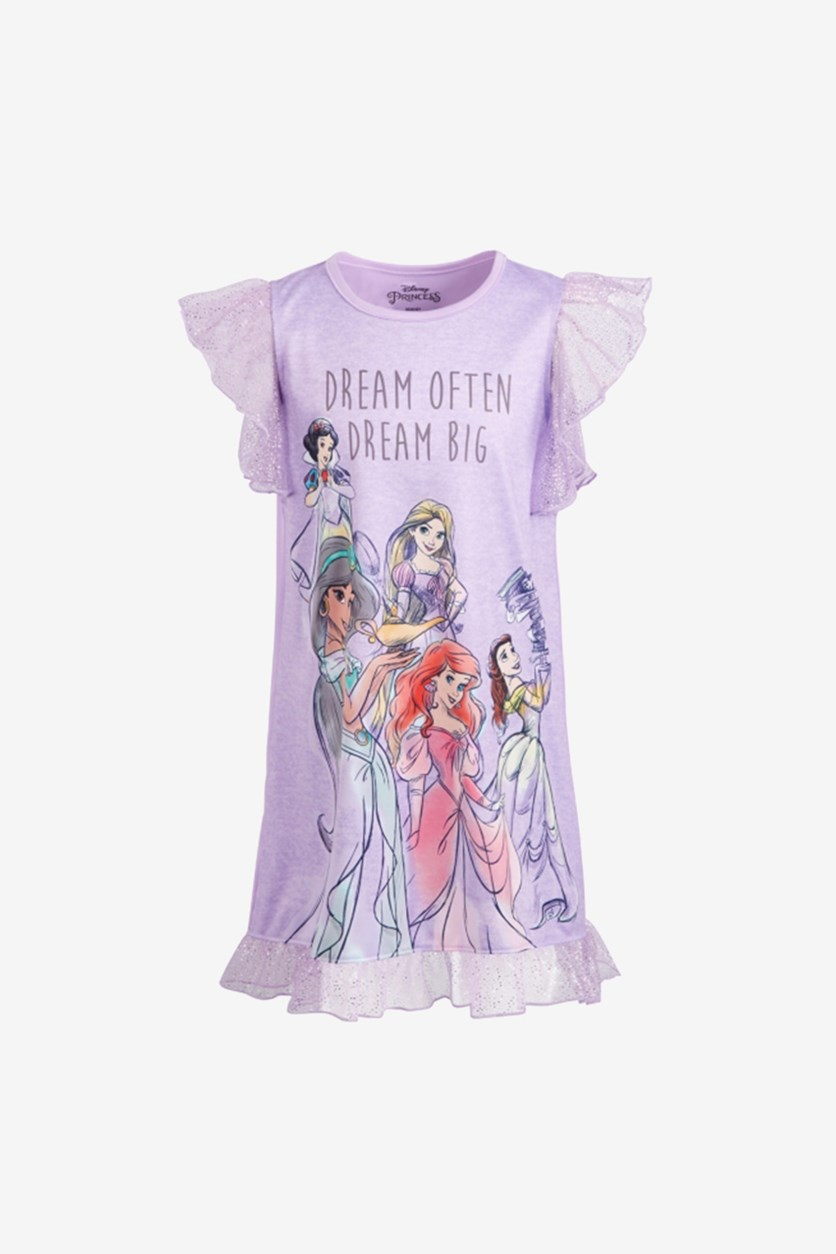 Toddler Girls Princesses Dream Big Nightgown, Lavender Combo