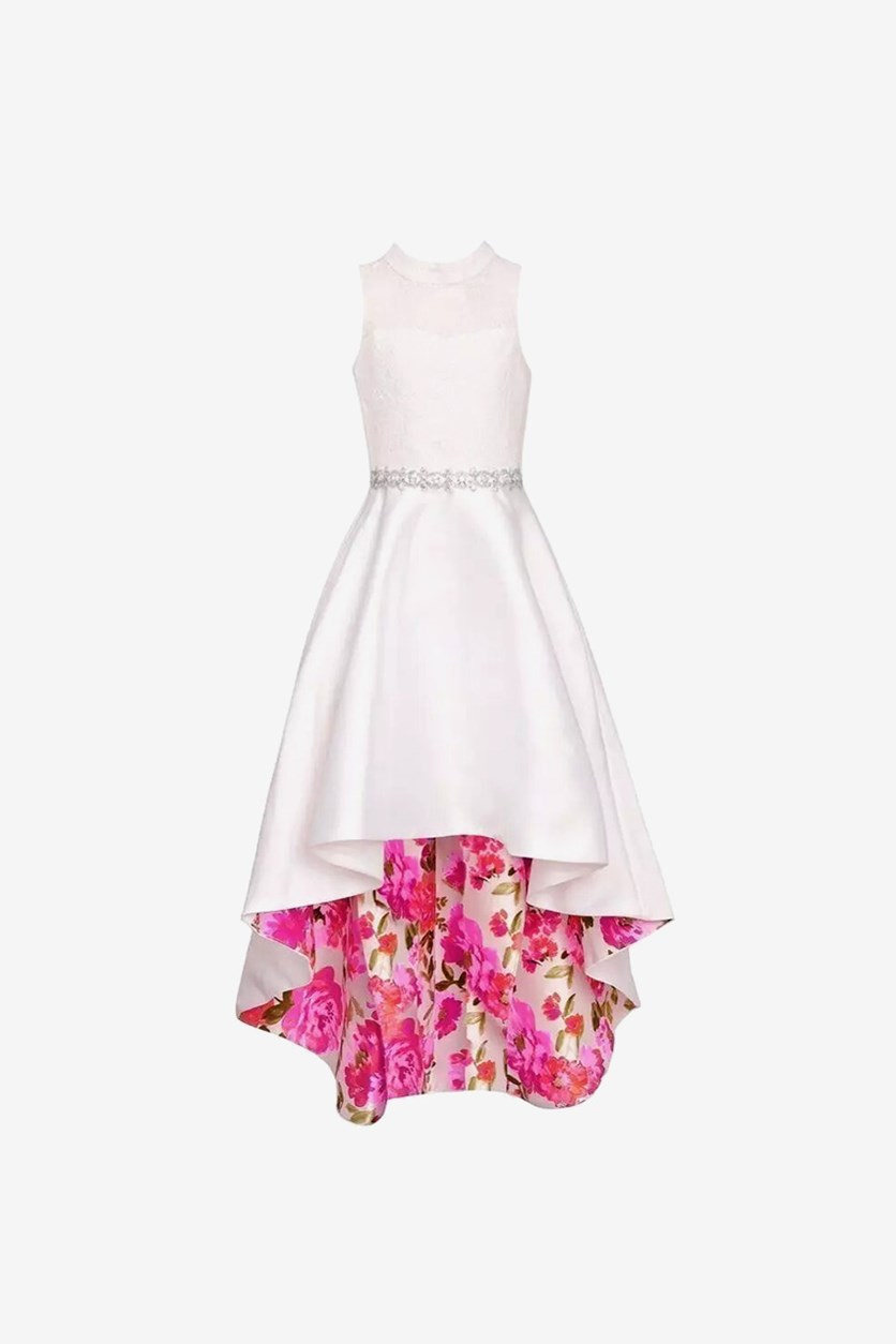 Big Girls Floral Print Hi-Low Easter Dress, White/Pink