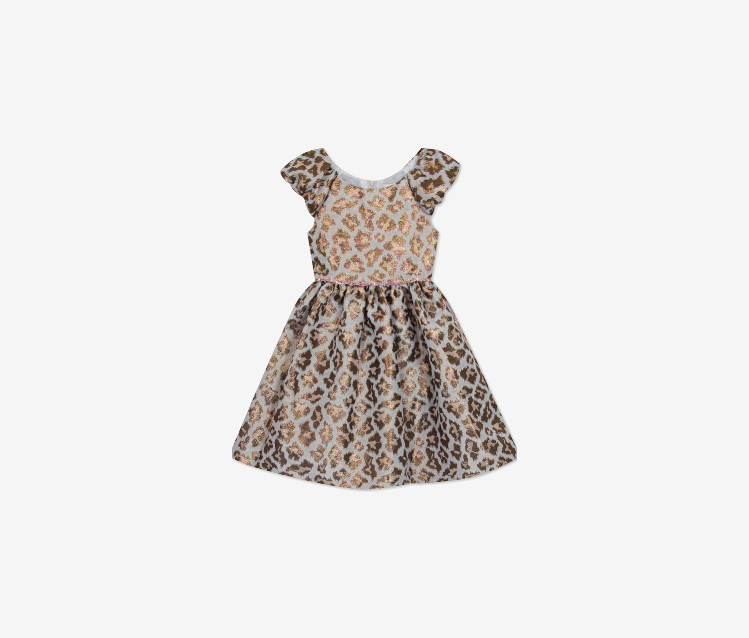 Little Girls Animal-Print Fit & Flare Dress, Taupe