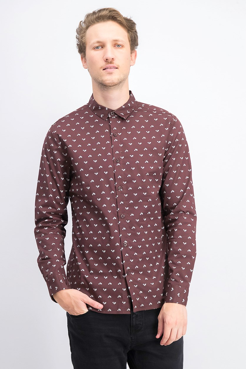 Men's Longsleeve Slim Fit Shirt, Brown