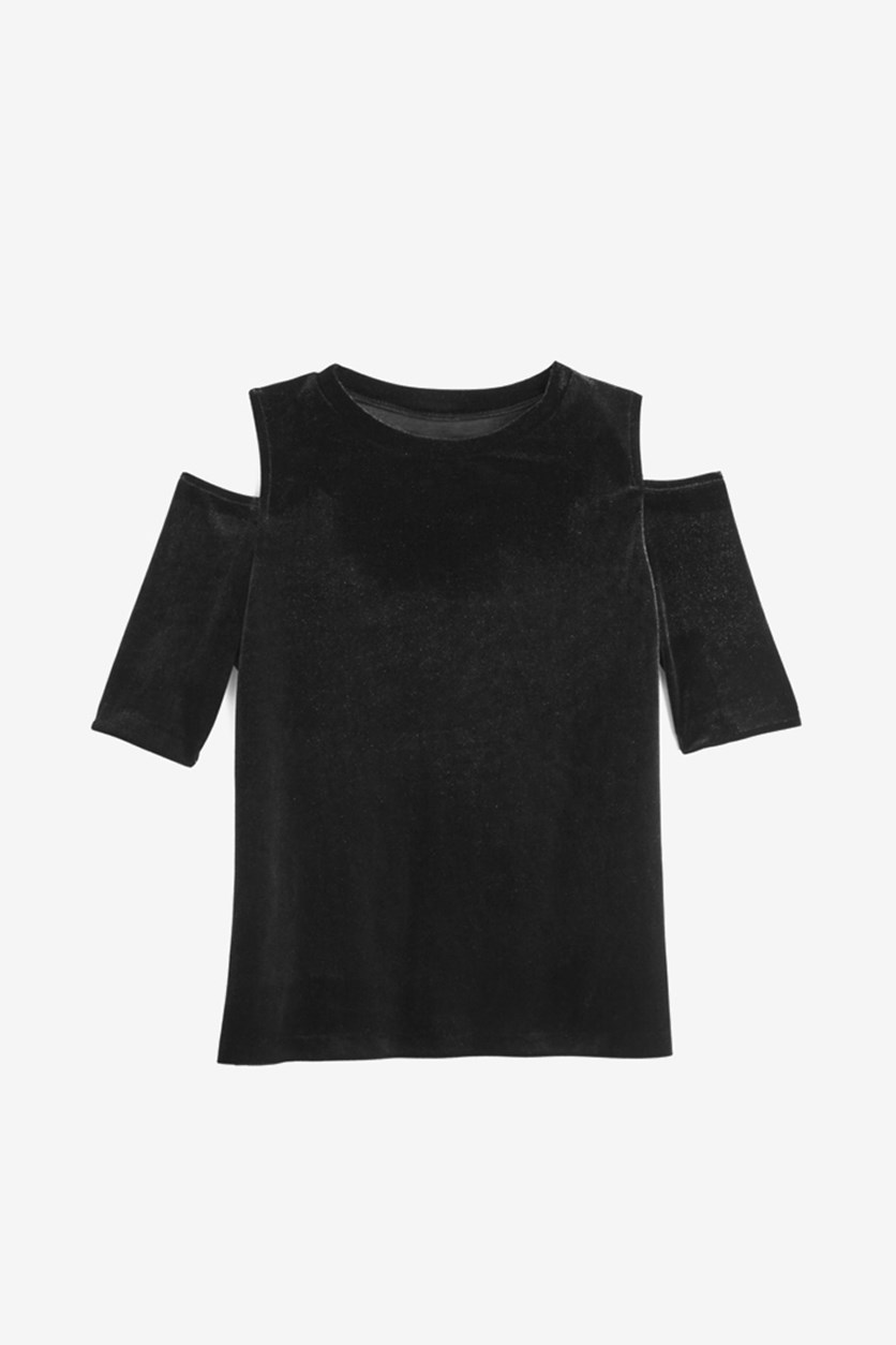 Kids Girls Velvet Cold Shoulder Top, Black