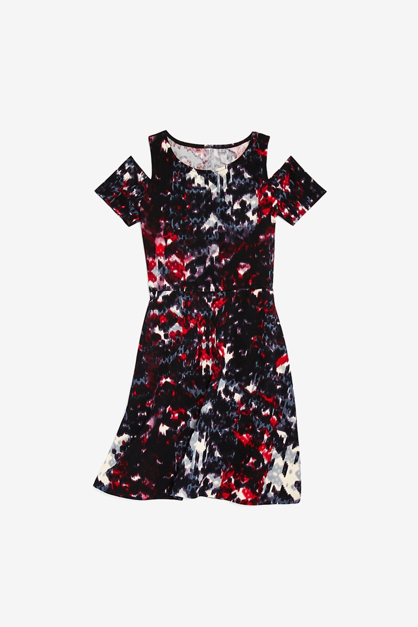 Girls' Cold Shoulder Printed Dress, Black Combo