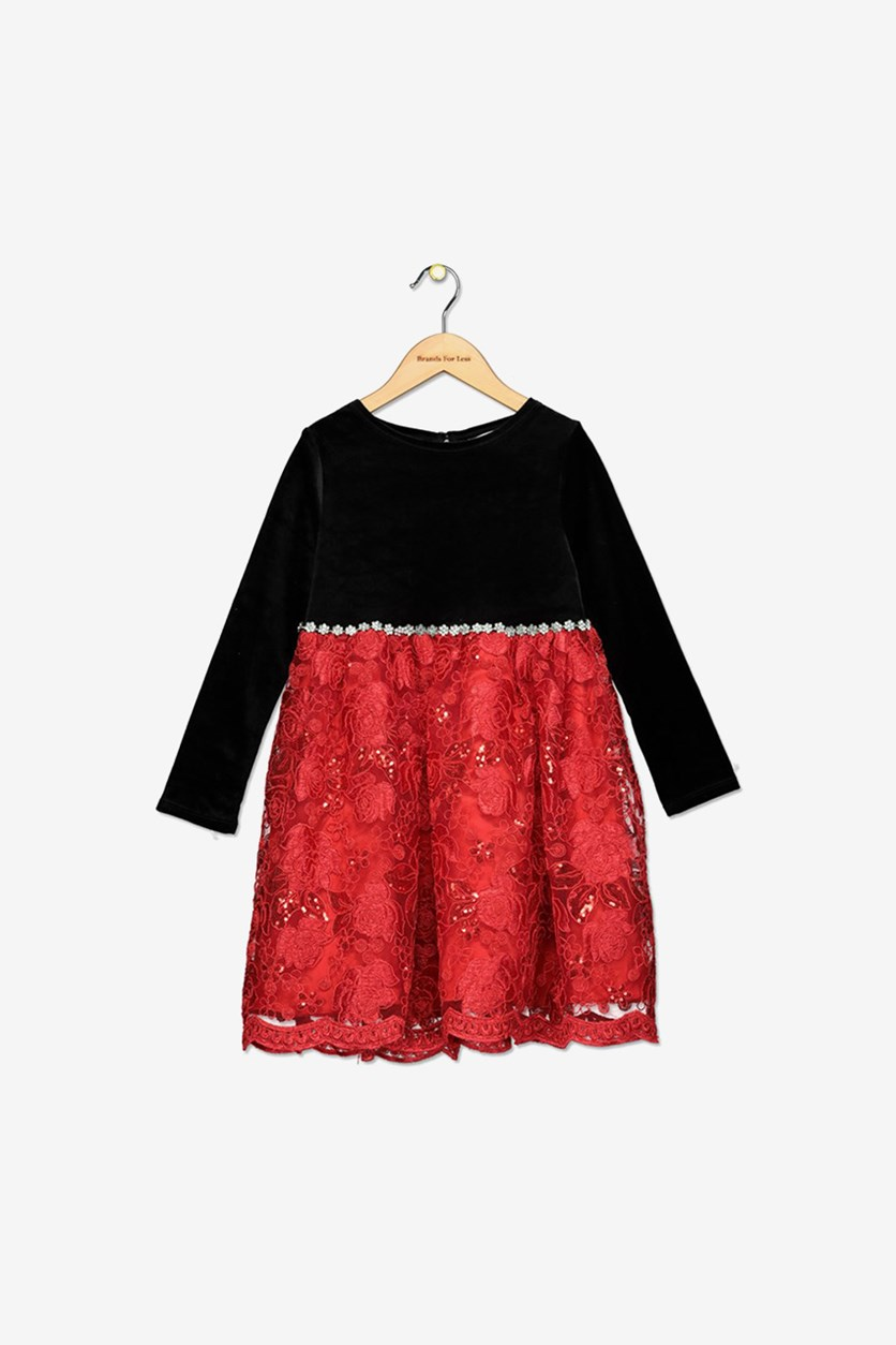 Toddler Girls Velvet Sequin Embroidered Dress, Black/Red