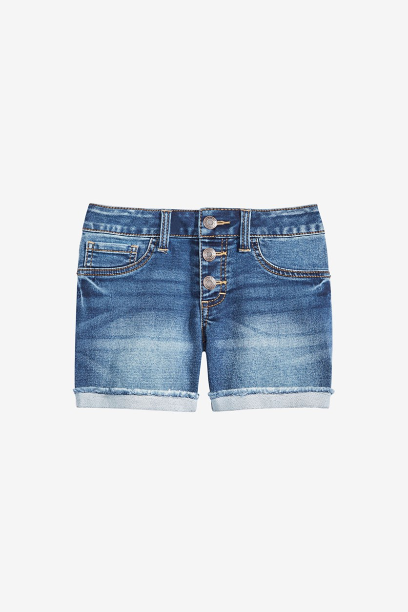 Big Girls Marty Cuffed Denim Shorts, Navy