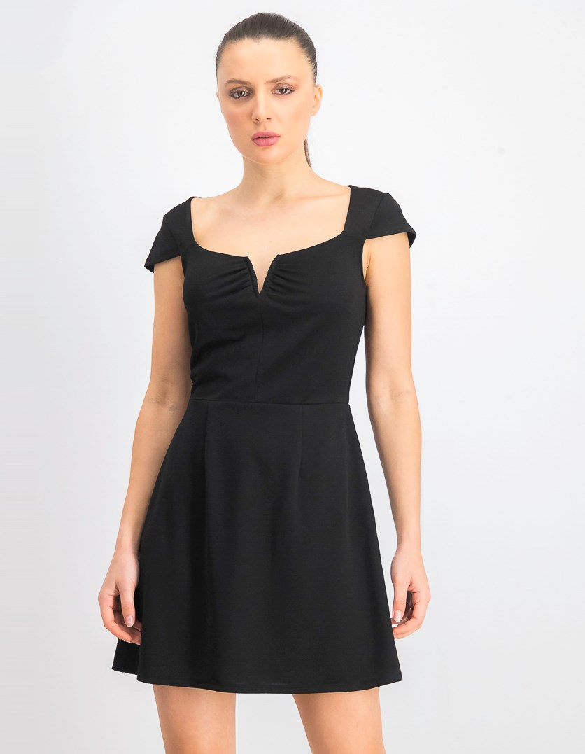 Women's V-Wire Cap Sleeve Knit Dress, Black