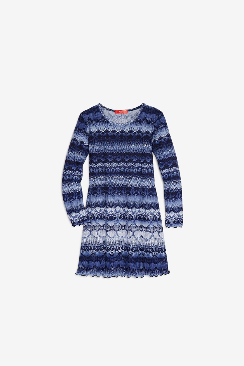 Kid's Girls' Snakeskin Print Swing Dress, Navy