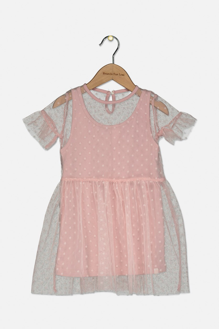Baby Girl's Ruffle Sleeve Polk-dots Seamless Dress, Old Rose