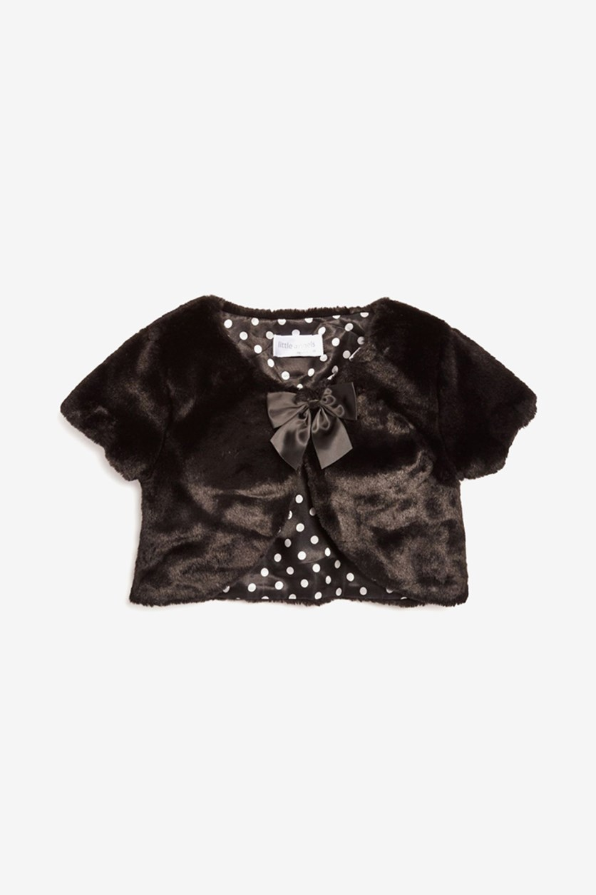 Toddler Girls' Faux-Fur Shrug, Black
