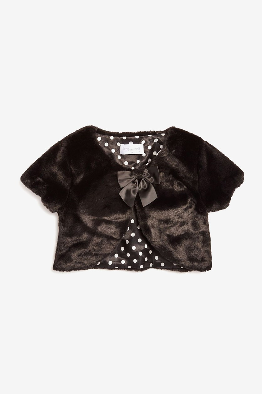 Girl's Faux-Fur Shrug, Black