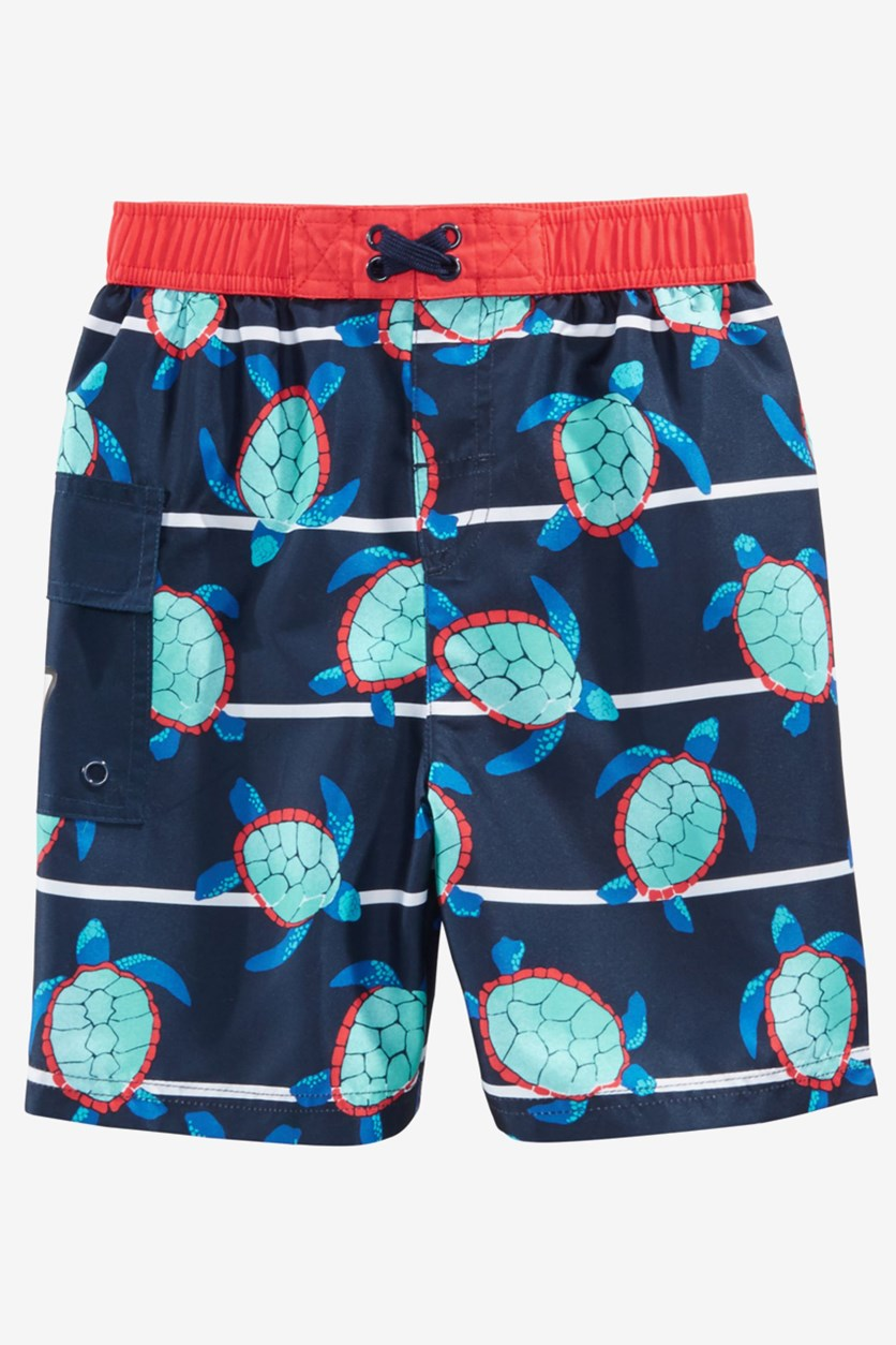 Little Boys Turtle Bay Swim Trunks, Navy Blue Combo