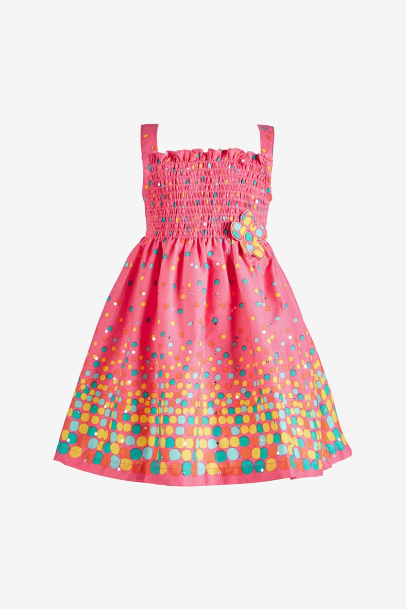 Baby Girls Dot-Print Smocked Cotton Sundress, Pink/Coral
