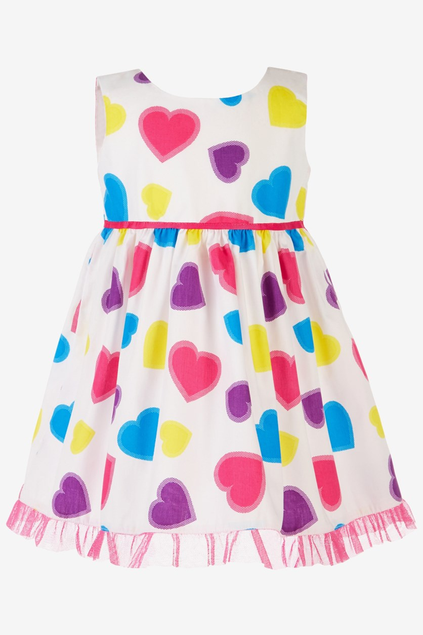 Toddler Girl's Colorful Heart-Print Dress, Pink/White Combo