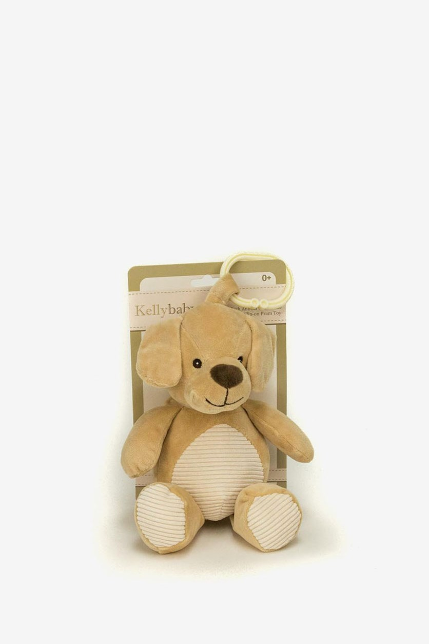 Plush Dog Labrador Pram Toy With Rattle And Crinkly Ears, Tan