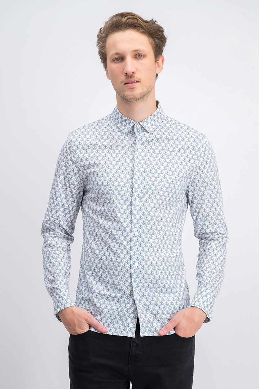 Men's Allover Print Longsleeve Casual Shirt, Blue/White