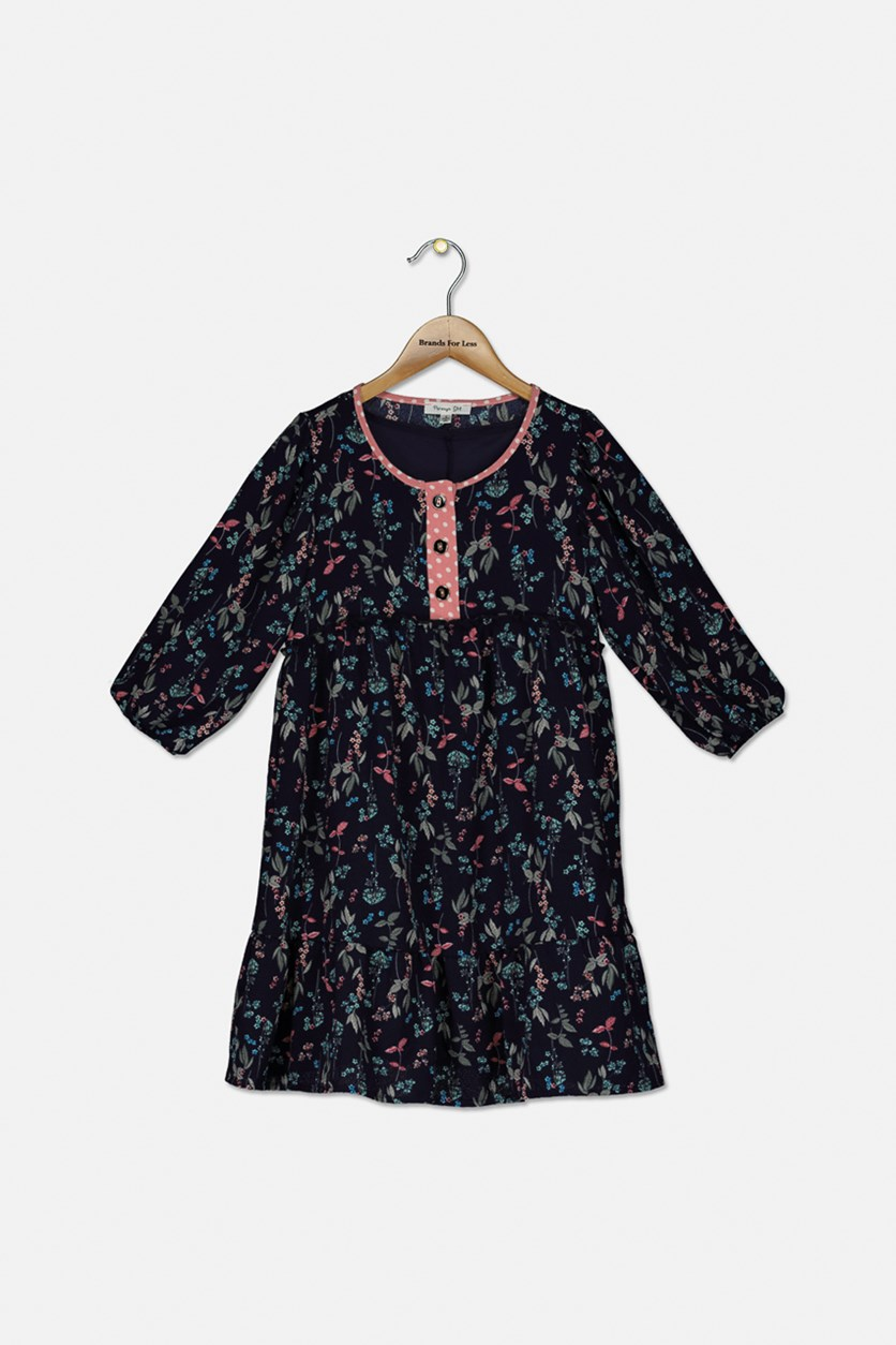 Kid's Floral Printed Longsleeve Dress, Navy