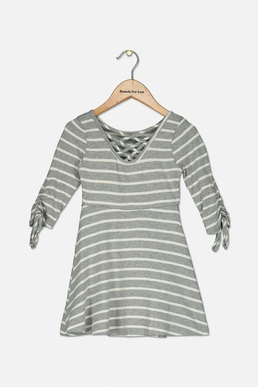 Kid Girl's Stripe Long-sleeve Dress, Grey Stripe