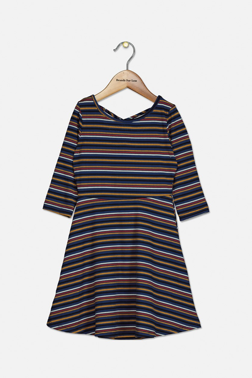 Big Girl's Lisette Stripe Knitted Dress, Navy Combo