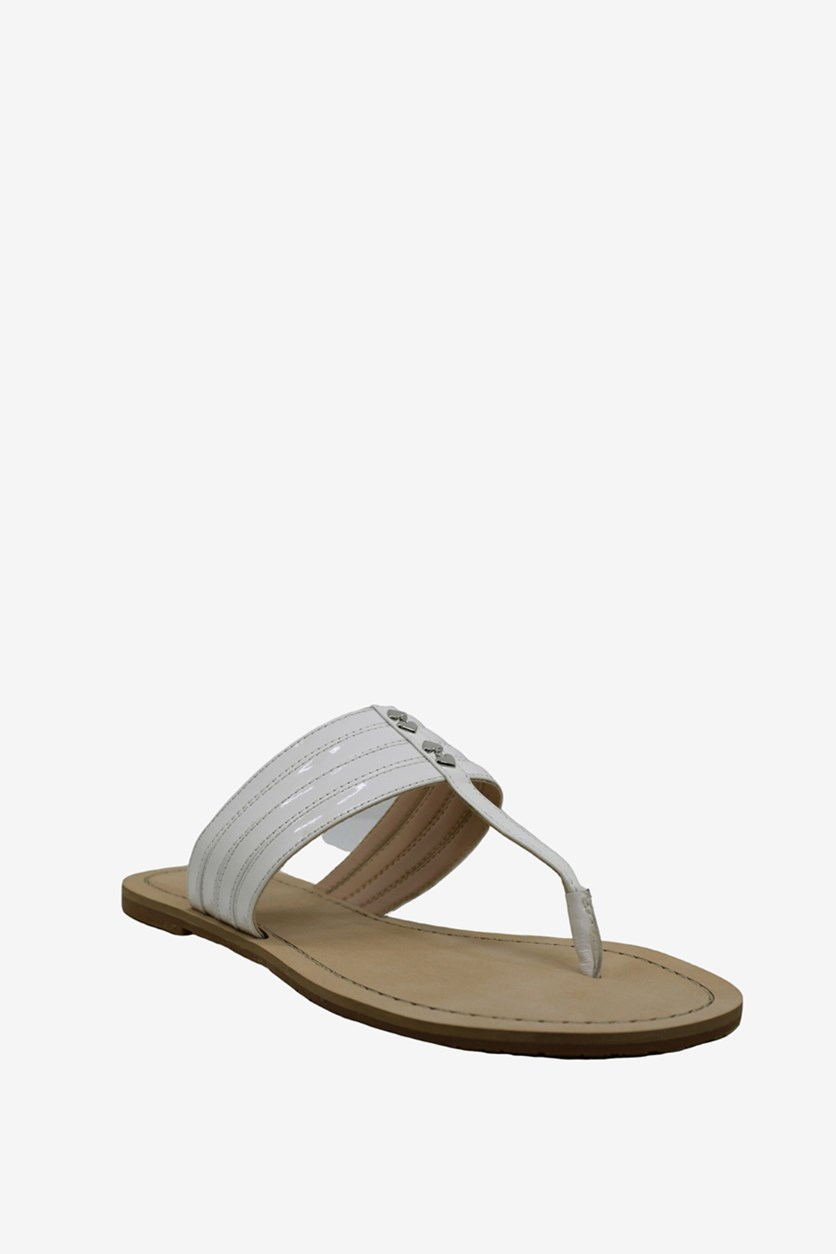 Womens Sindy Open Toe Beach T-Strap Sandals, White