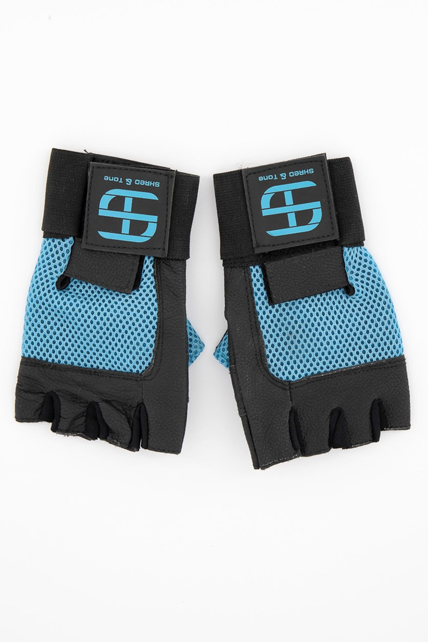 Cowhide Genuine Leather Fitness Gloves, Black/Blue