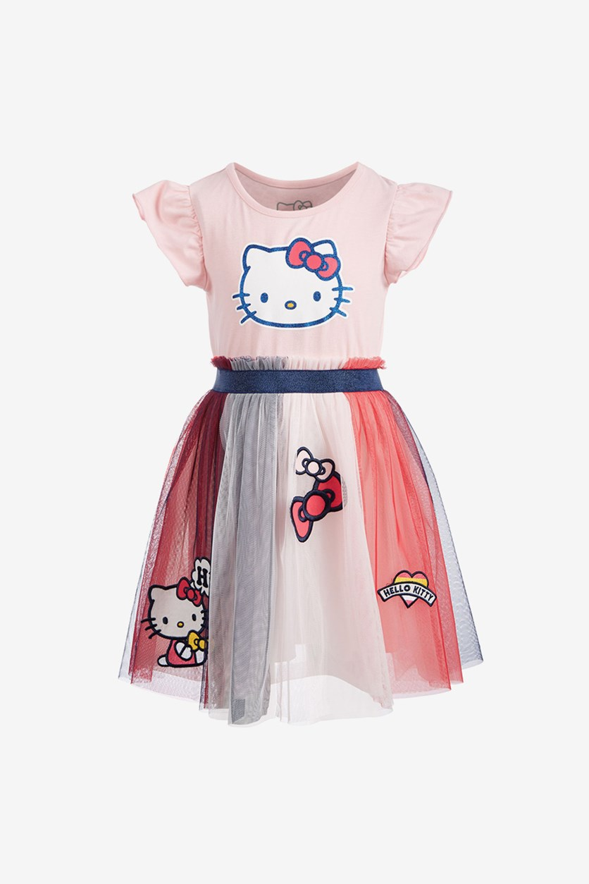 Toddler Girls Patches Dress, pink combo