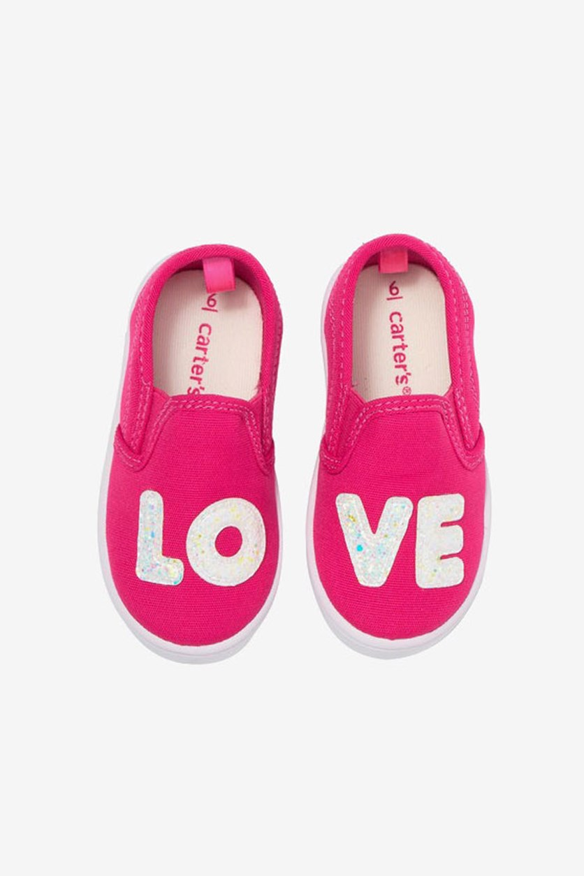 Toddler Girls Glitter Accent Canvas Shoes, Pink
