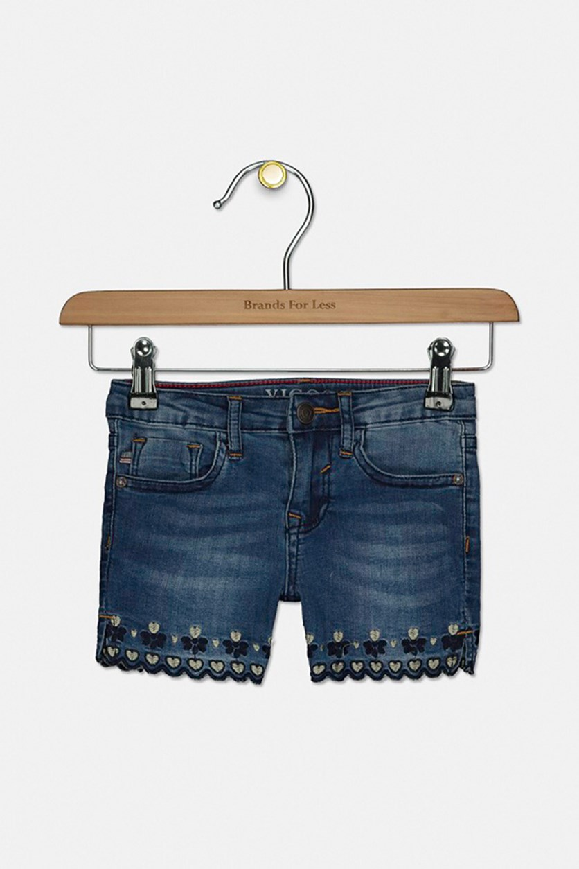 Toddler Girl's Scallop-Hem Midi Denim Shorts, Northern Light