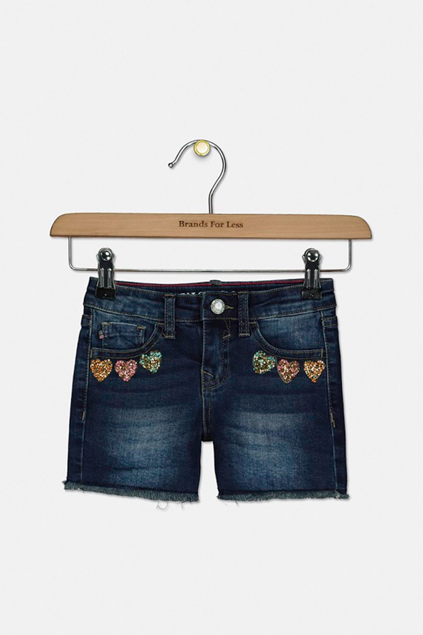 Toddler Girl's Heart Stopper Denim Shorts, Blue Magic