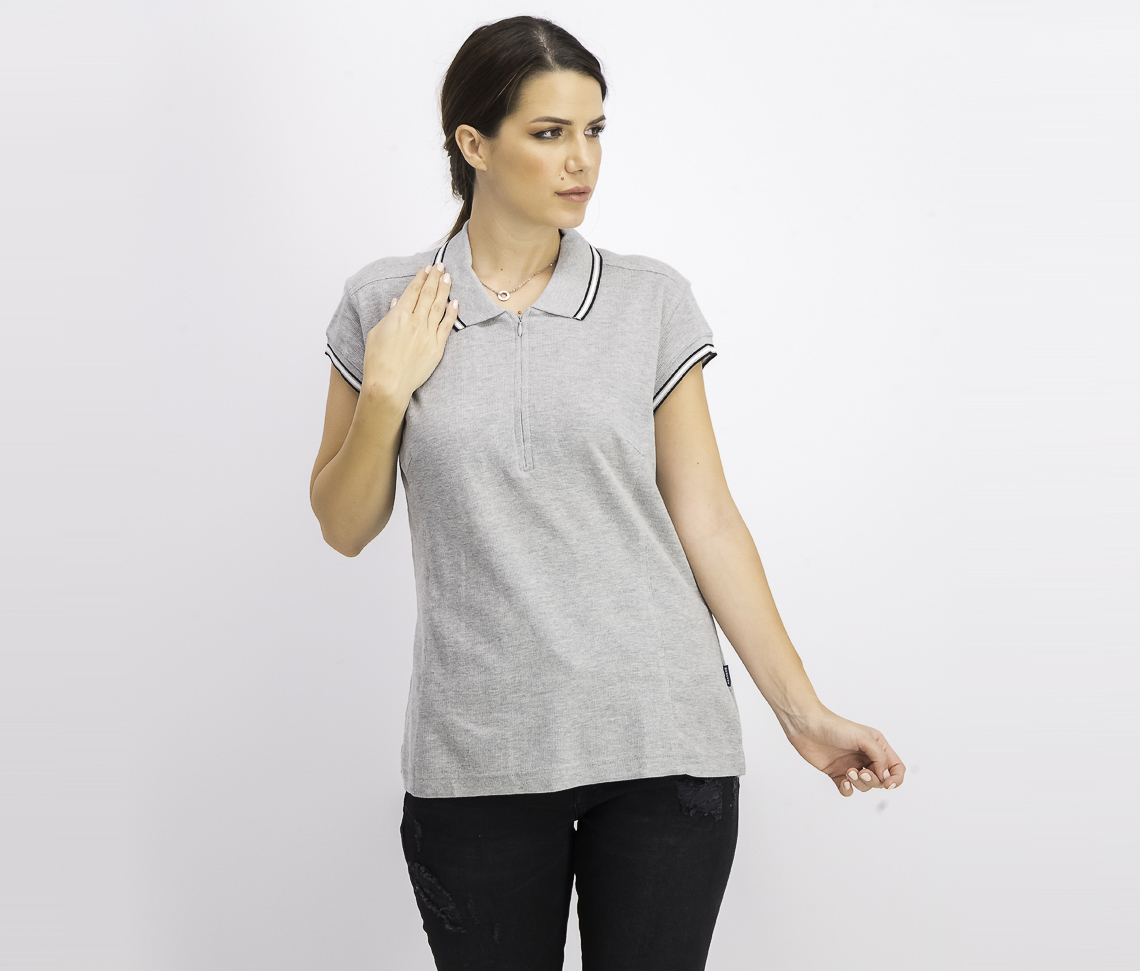 Women's Pull Over Polo Shirt, Grey