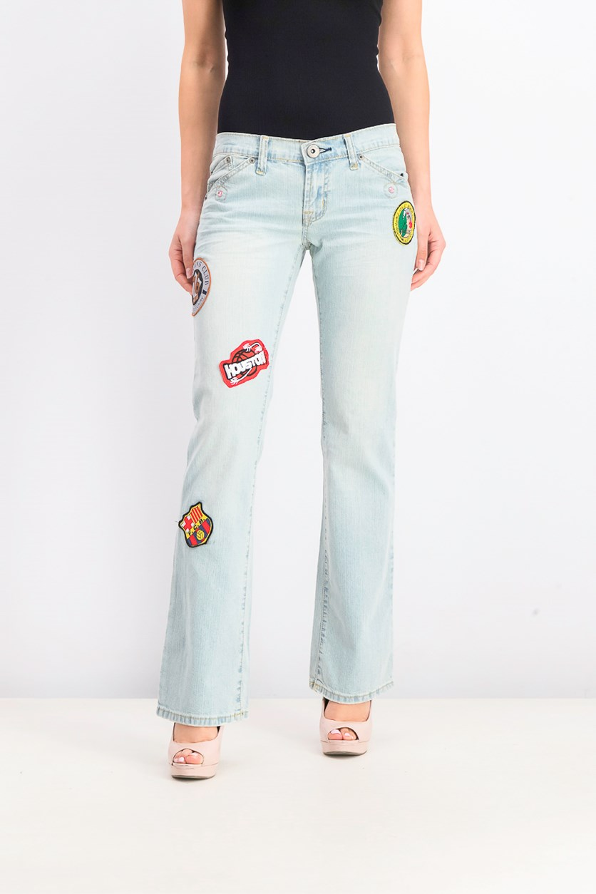 Women's Low Rise Jeans, Wash Denim