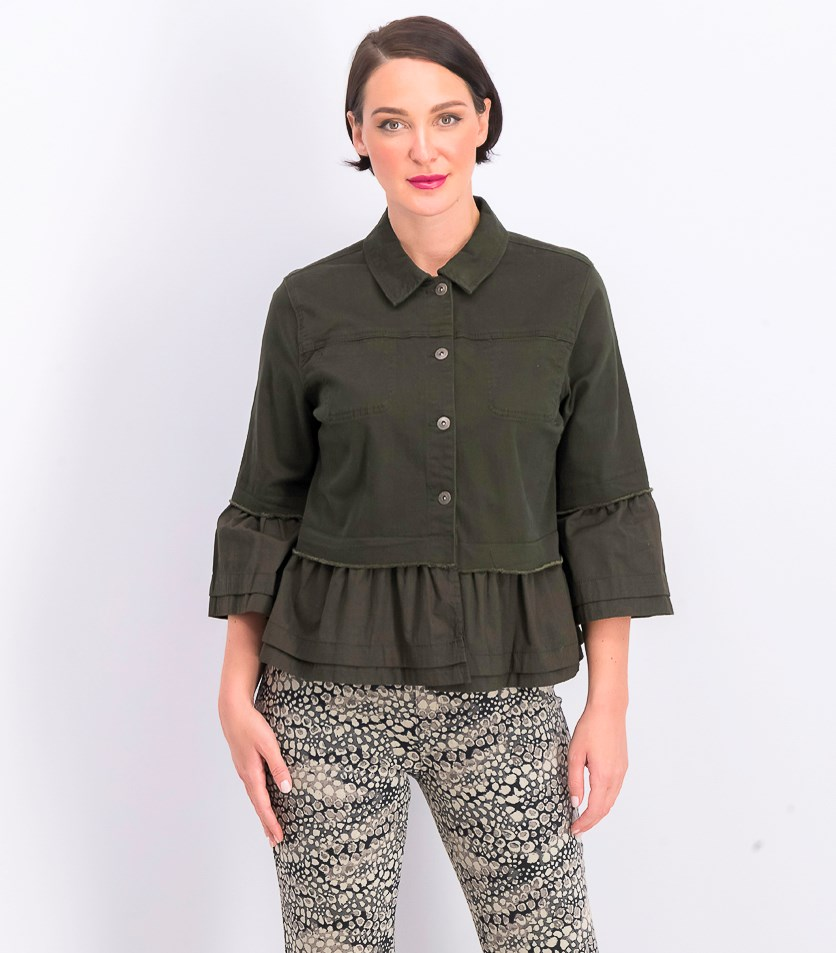 Women's Ruffled Denim Jacket, Olive