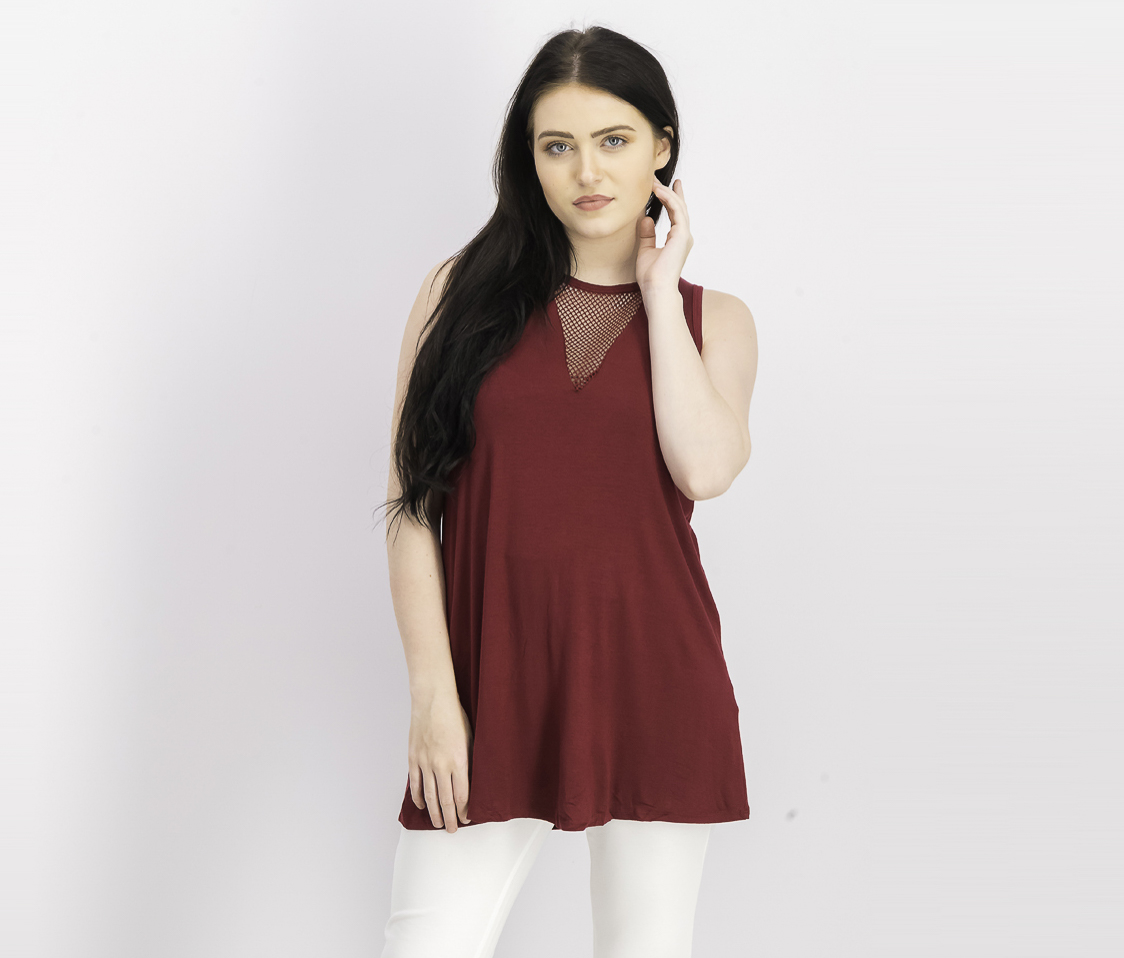Women's Sleeveless Dress Tops, Burgundy