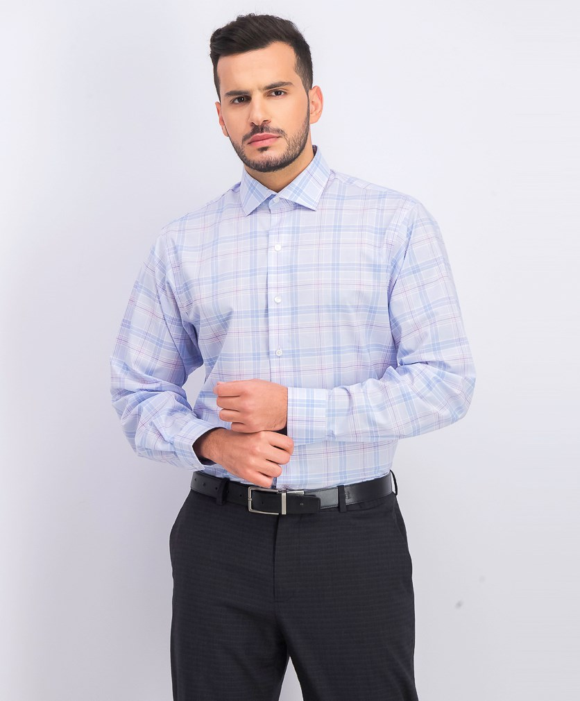 Men's Big & Tall Fit Flex Stretch Non-Iron Plaid Dress Shirt, Blue Combo