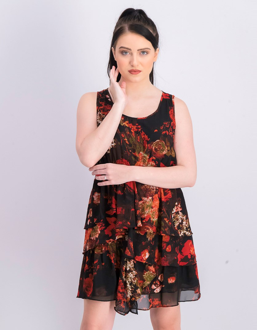 Women's Floral Dress, Black/Red/Green