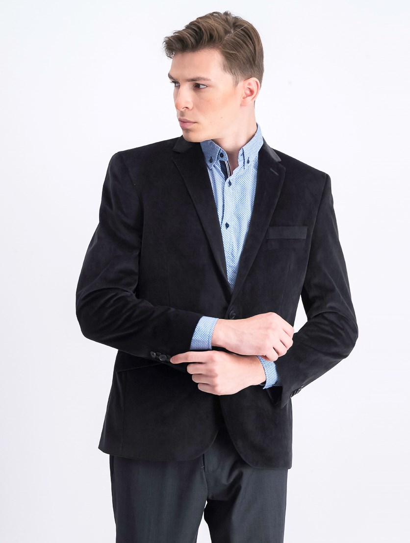 Men's Slim-Fit Velvet Sport Coat, Black