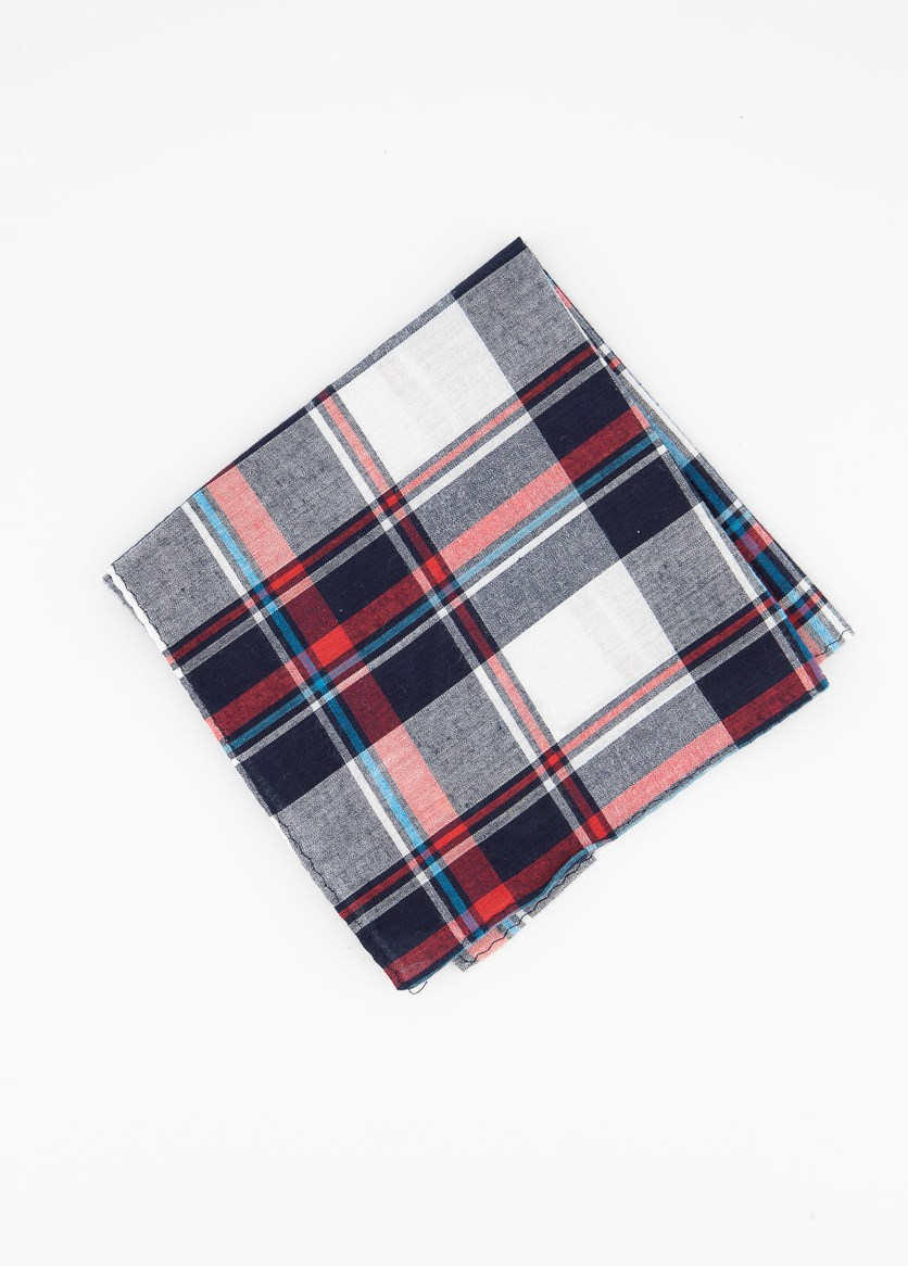 Mens Gingham Plaid Pocket Square Handkerchiefs, Red/Navy