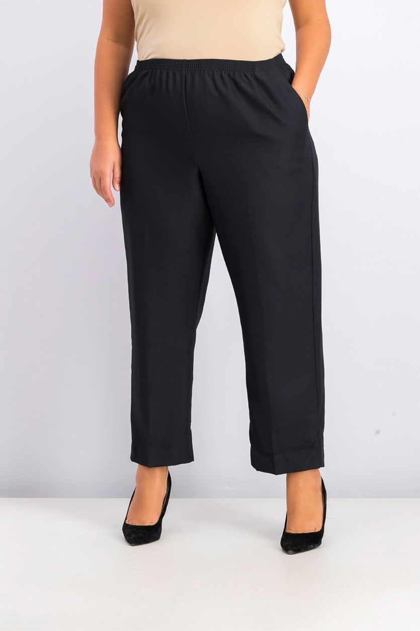Polyester Pull-On Pants, Black