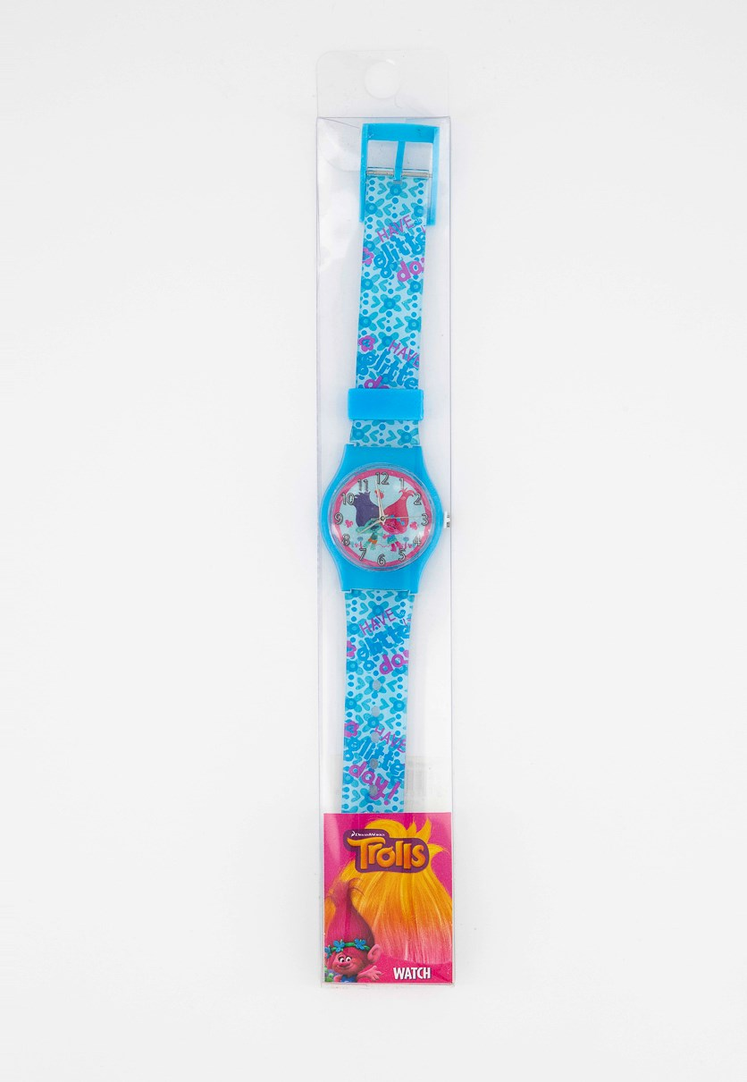 Kid's Girl Trolls Watch, Blue/Pink