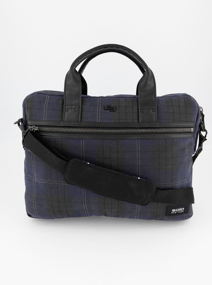 Men's Bryce Printed Waxed-Cotton Briefcase, Navy Combo