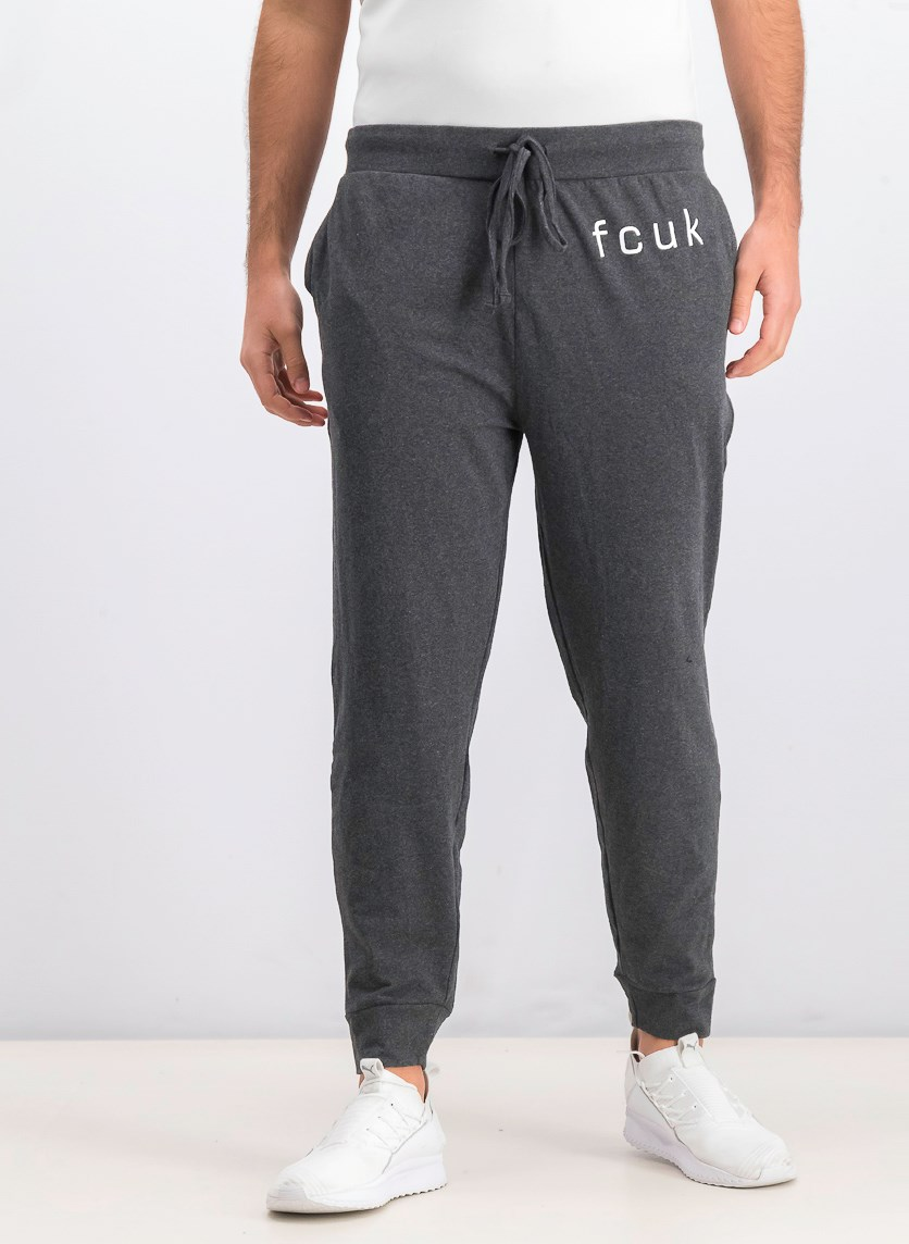 Men's Fcuk Graphic Jogger Pants, Charcoal Heather