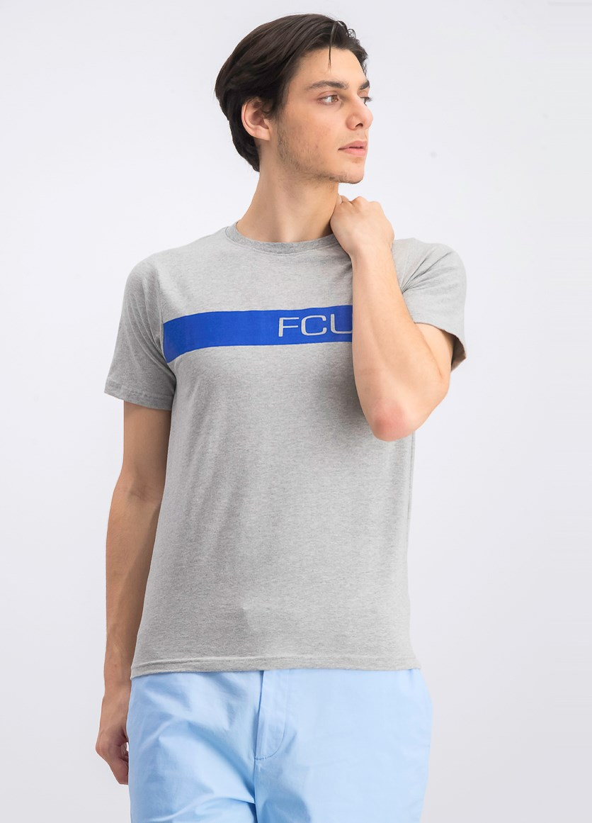 Men's Graphic Crew Neck T-Shirt, Gray/Blue