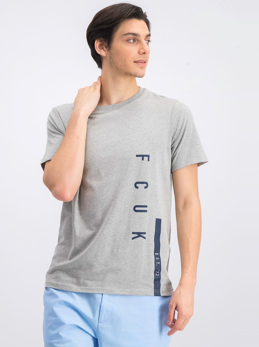 Men's Graphic Crew Neck T-Shirt, Gray