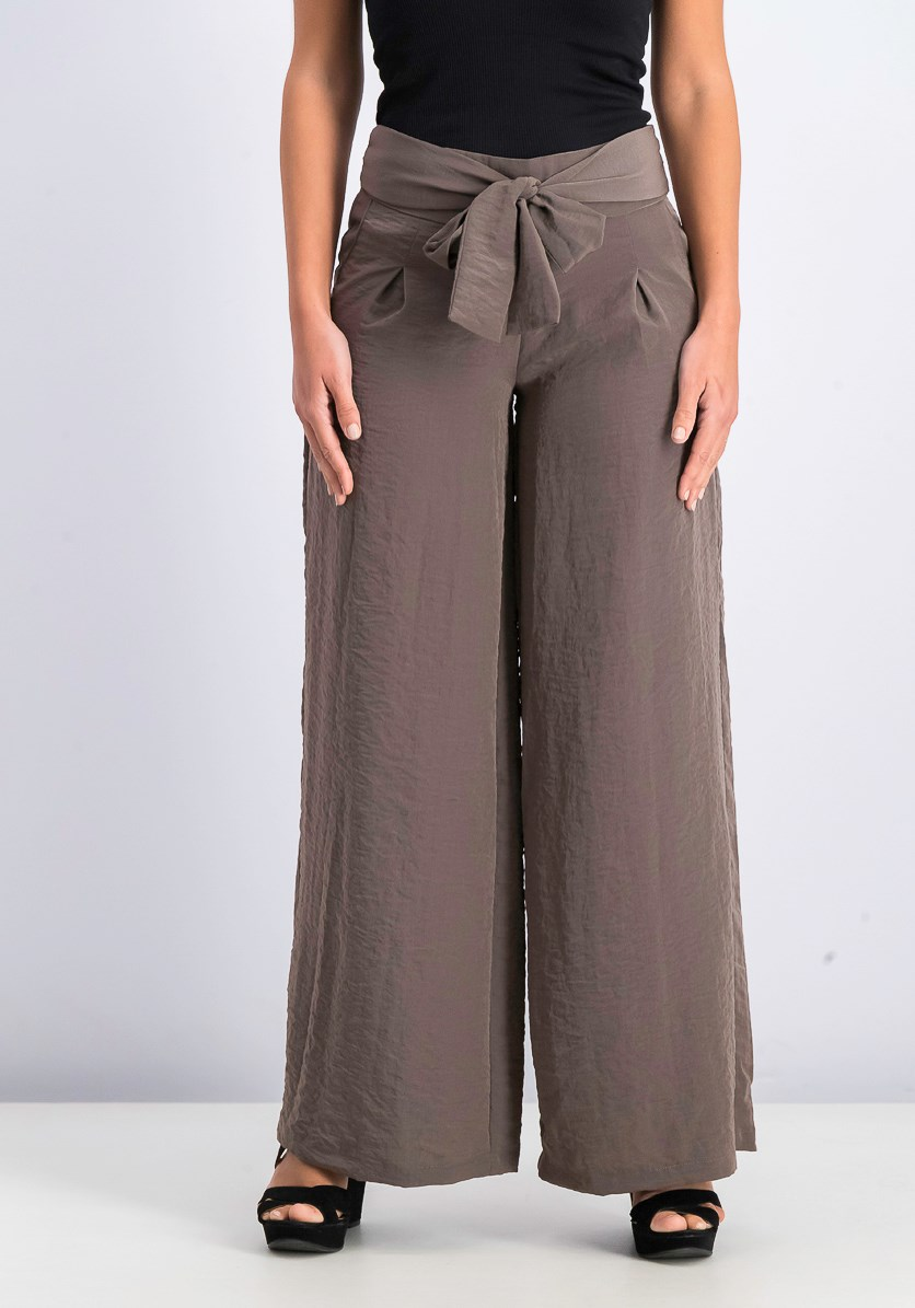 Women's Wide Leg Pants, Taupe