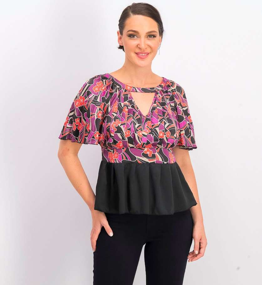 Women's Floral Top, Violet/Black Combo