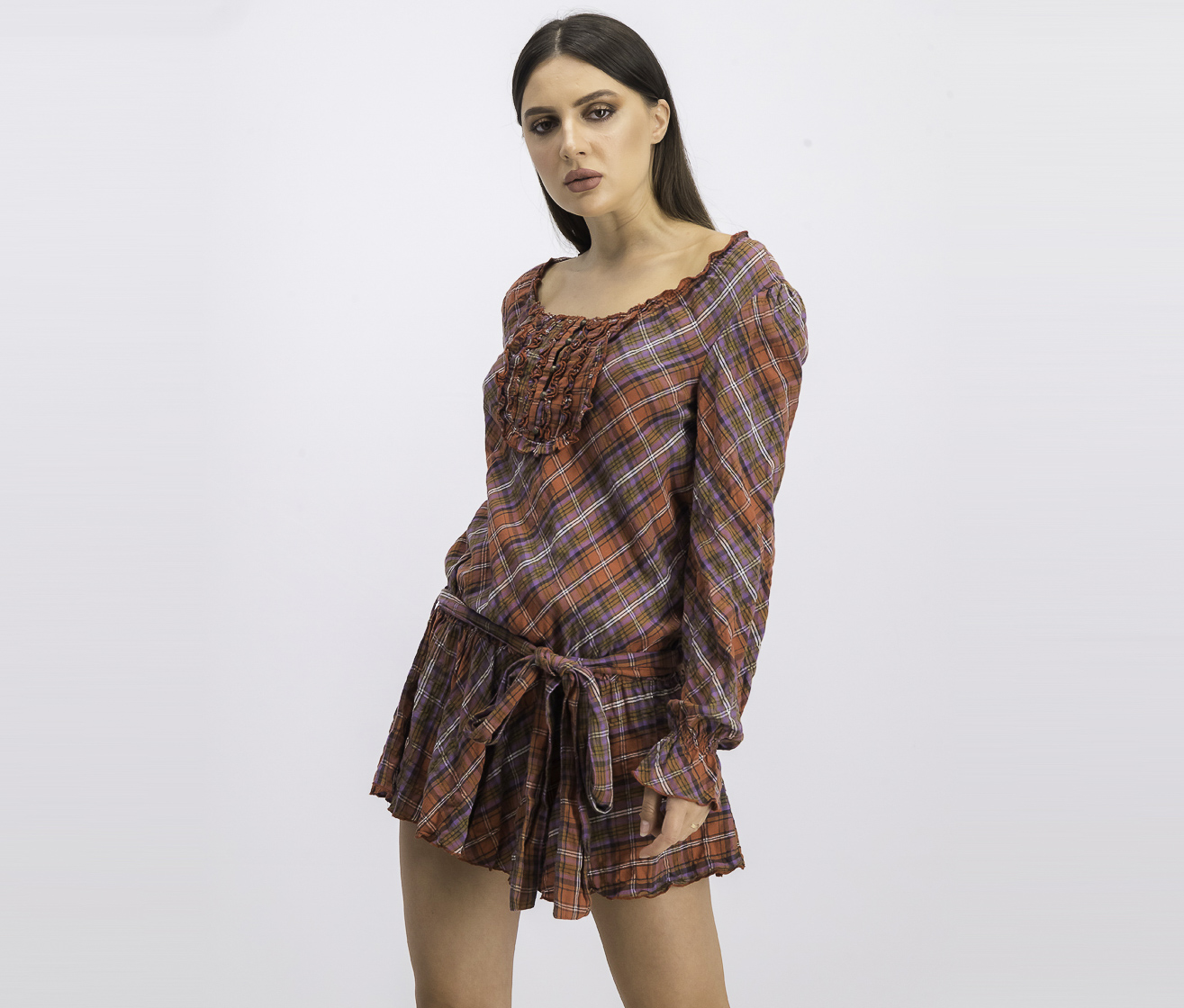 Women's Long Sleeve Plaid Dress, Brown/Purple