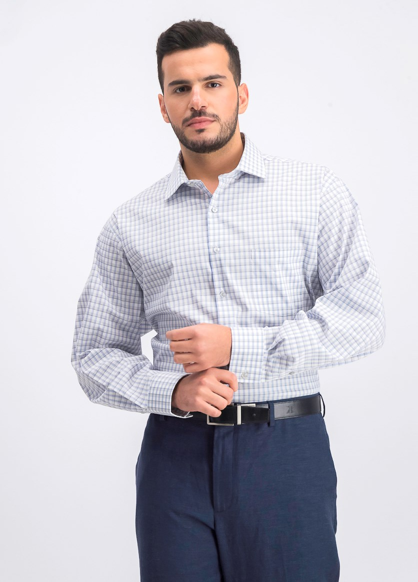 Men's Regular Fit Stretch Flex Check Dress Shirt, Blue/Azure