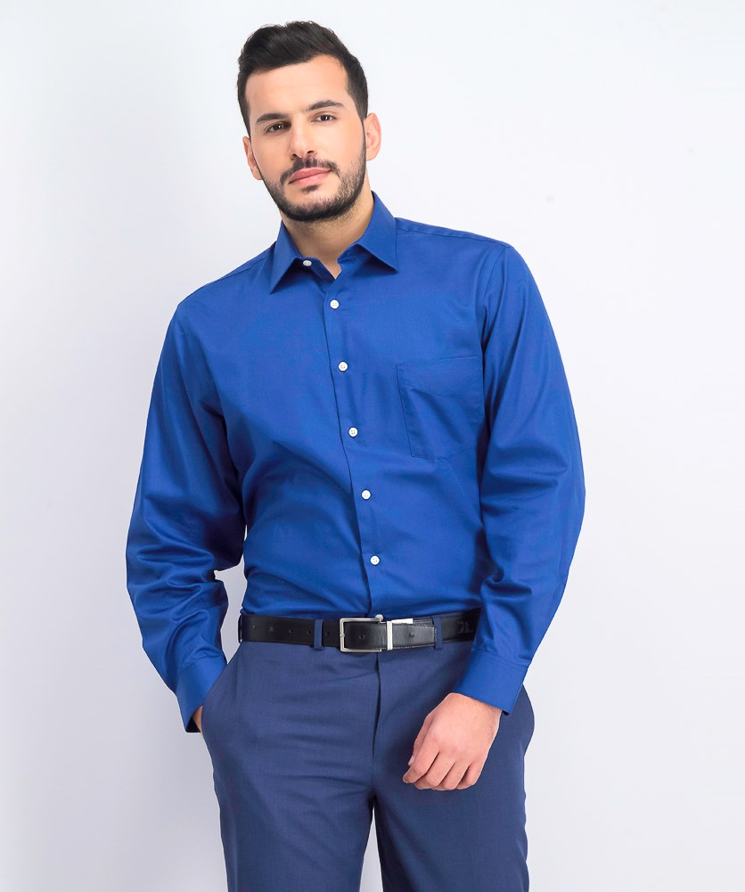 Men's Slim-Fit Lux Sateen Solid Dress Shirt, Blue Velvet