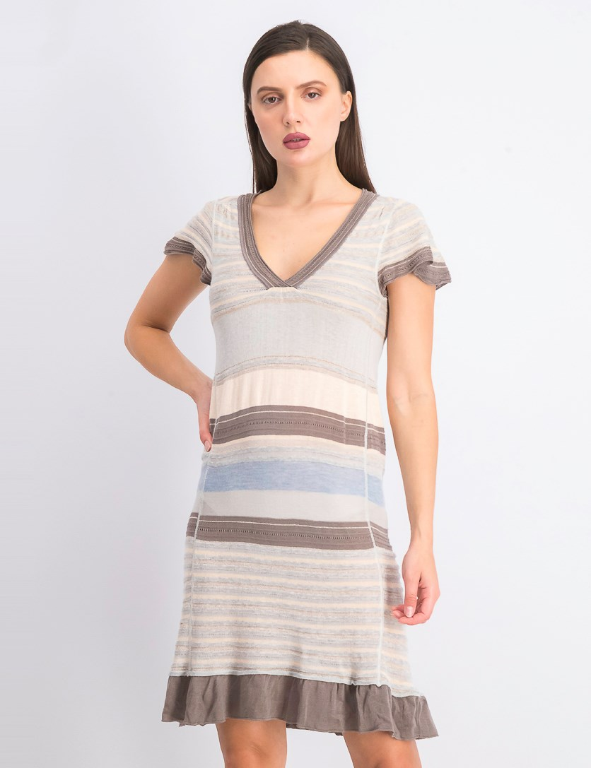 Women's Pullover Stripe Dress, Peach/Grey