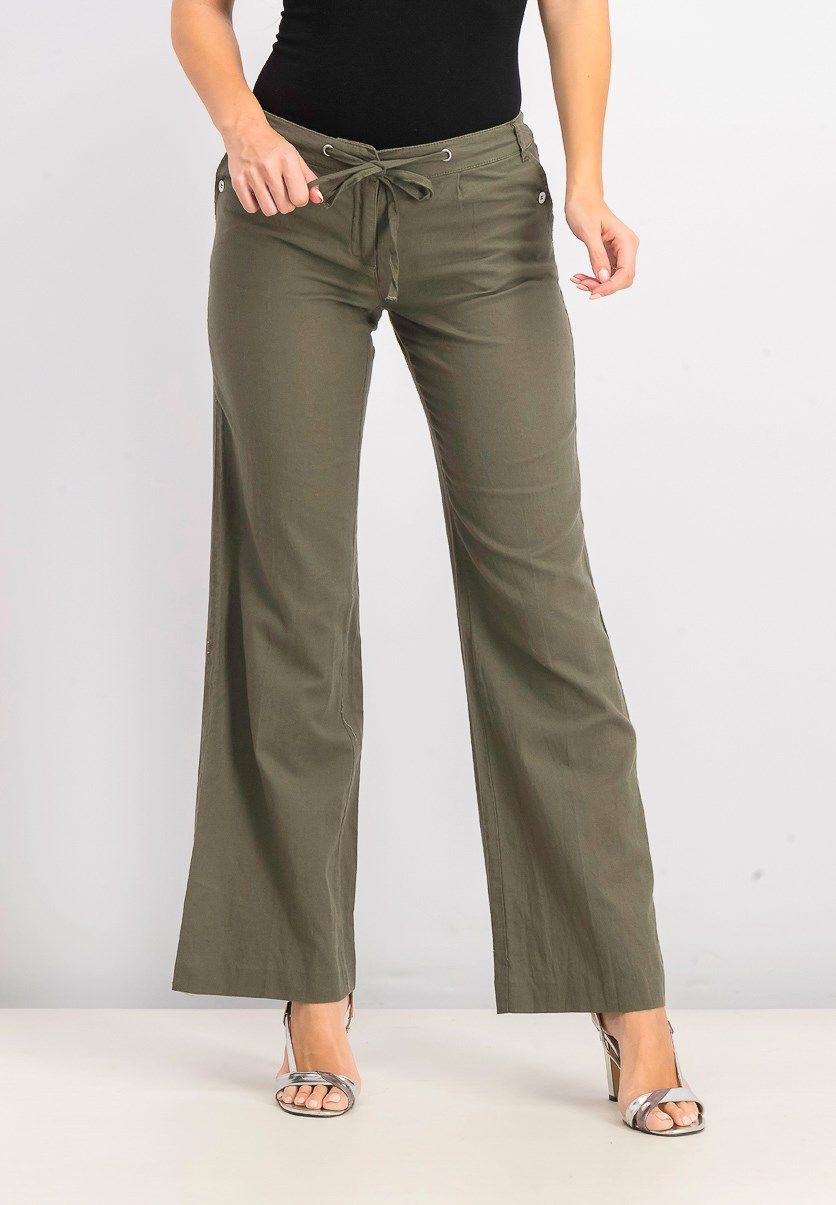 Womens Straight Pants, Gray Olive
